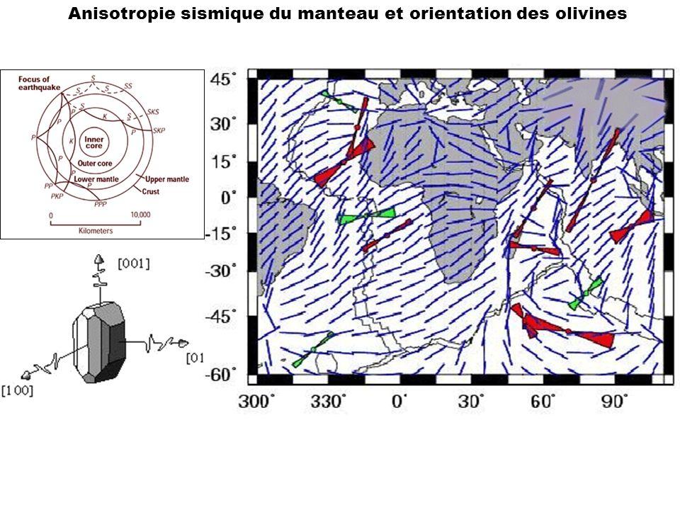 Anisotropie sismique du manteau et orientation des olivines