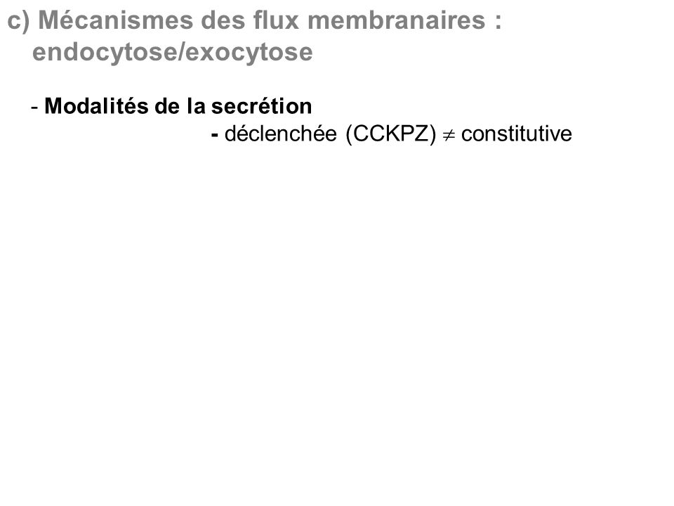 c) Mécanismes des flux membranaires : endocytose/exocytose