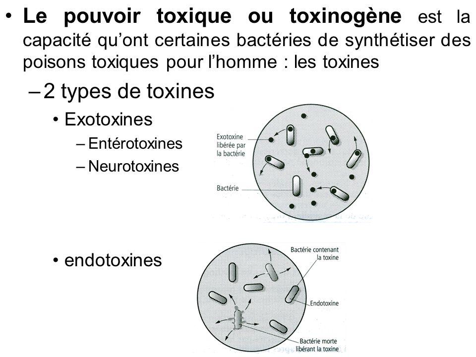 Le pouvoir toxique ou toxinogène est la capacité qu'ont certaines bactéries de synthétiser des poisons toxiques pour l'homme : les toxines