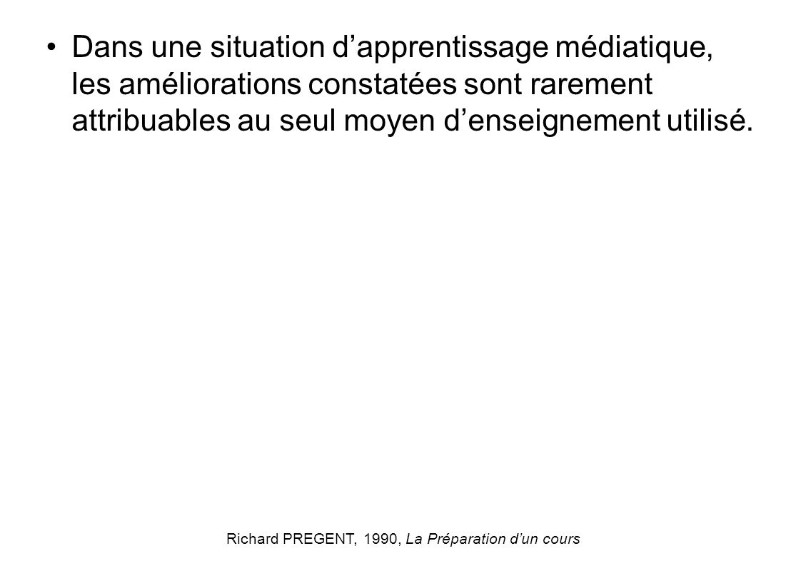 Richard PREGENT, 1990, La Préparation d'un cours