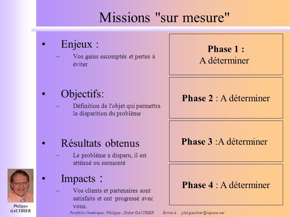 Missions sur mesure Enjeux : Objectifs: Résultats obtenus Impacts :