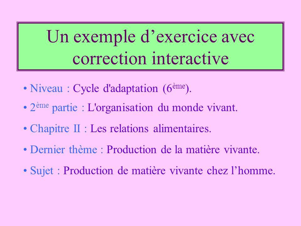 Un exemple d'exercice avec correction interactive