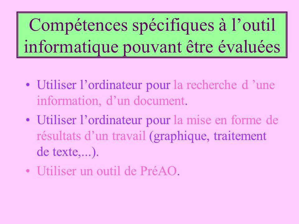 Compétences spécifiques à l'outil informatique pouvant être évaluées