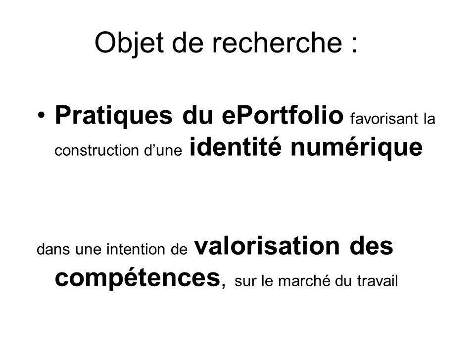 Objet de recherche : Pratiques du ePortfolio favorisant la construction d'une identité numérique.