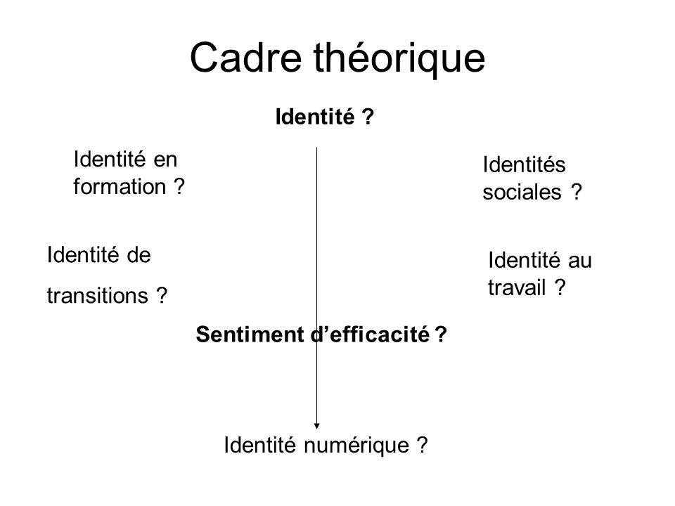 Cadre théorique Identité Identité en formation