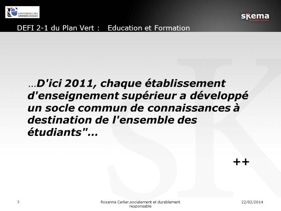 DEFI 2-1 du Plan Vert : Education et Formation