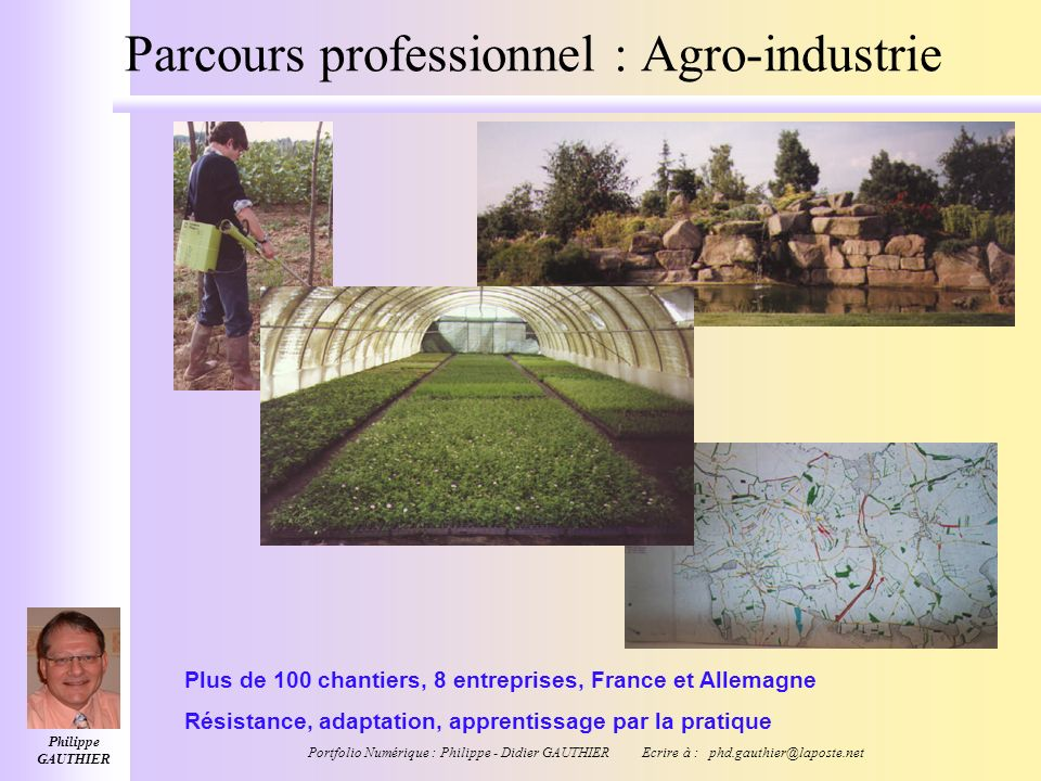 Parcours professionnel : Agro-industrie