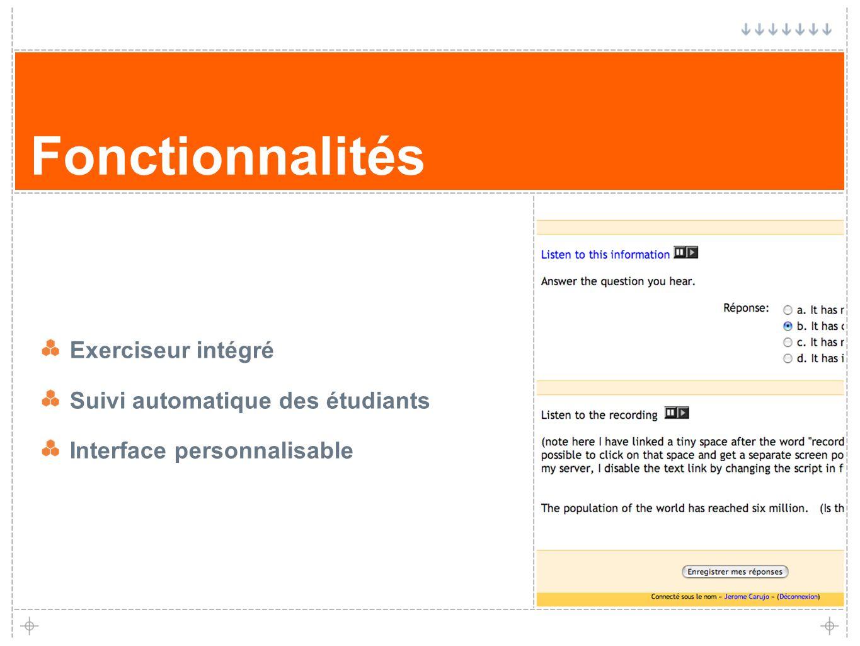 Fonctionnalités Exerciseur intégré Suivi automatique des étudiants