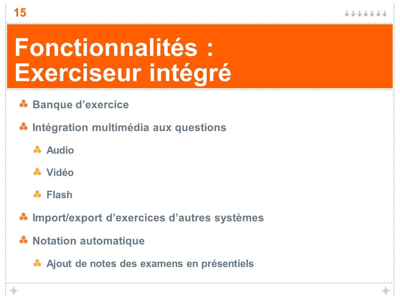 Fonctionnalités : Exerciseur intégré