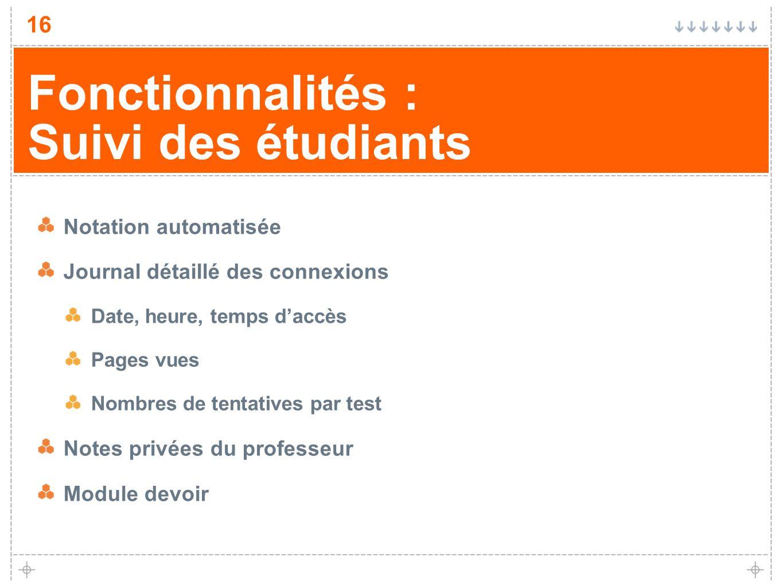 Fonctionnalités : Suivi des étudiants