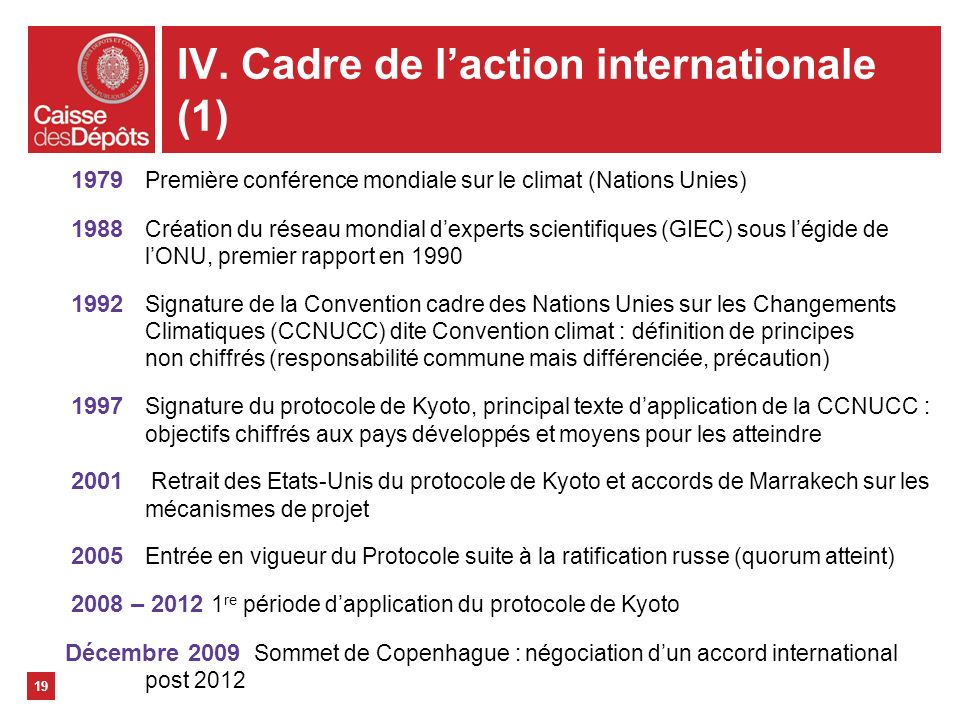 IV. Cadre de l'action internationale (1)