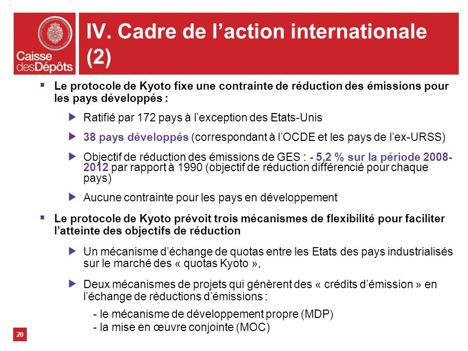 IV. Cadre de l'action internationale (2)