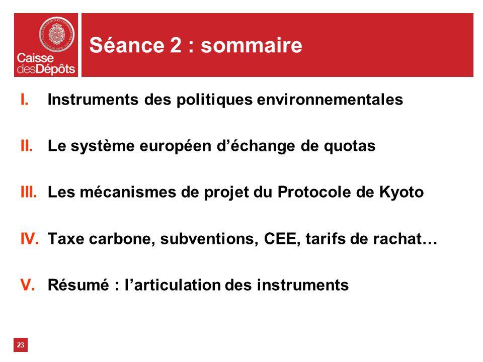 Séance 2 : sommaire Instruments des politiques environnementales