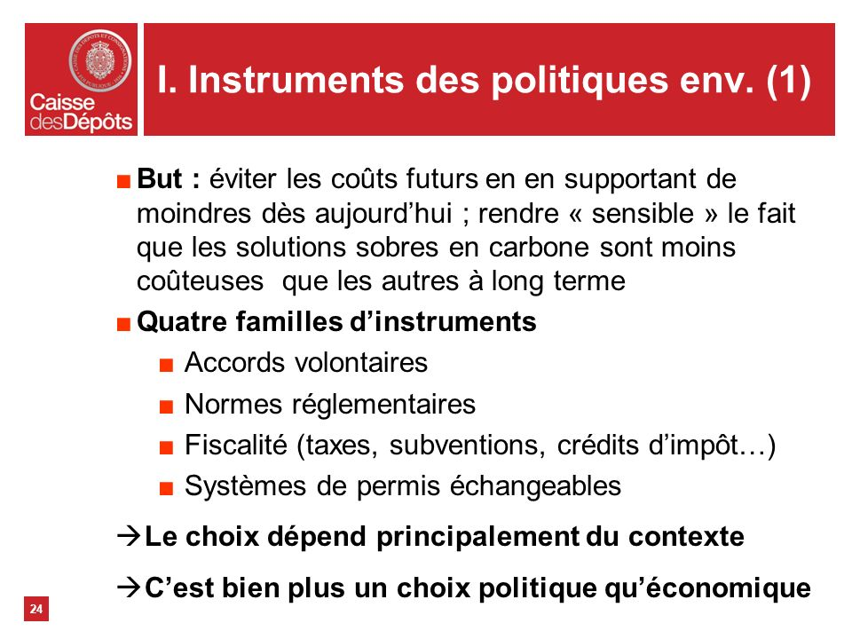 I. Instruments des politiques env. (1)