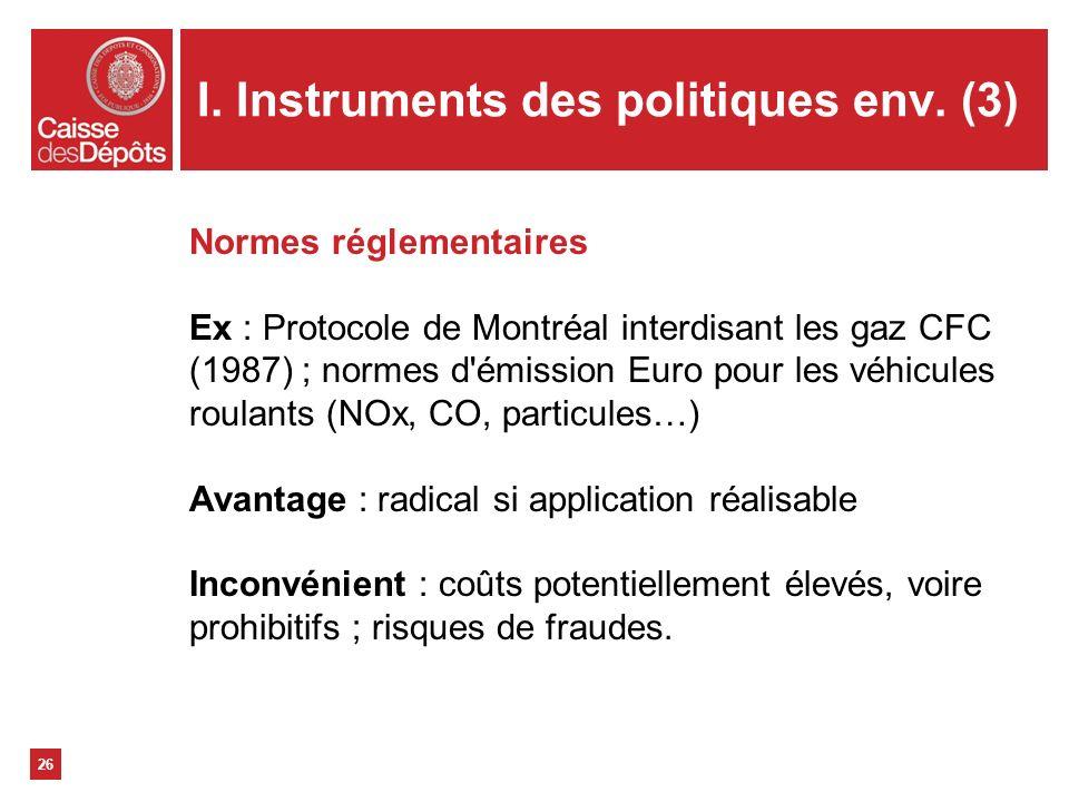 I. Instruments des politiques env. (3)