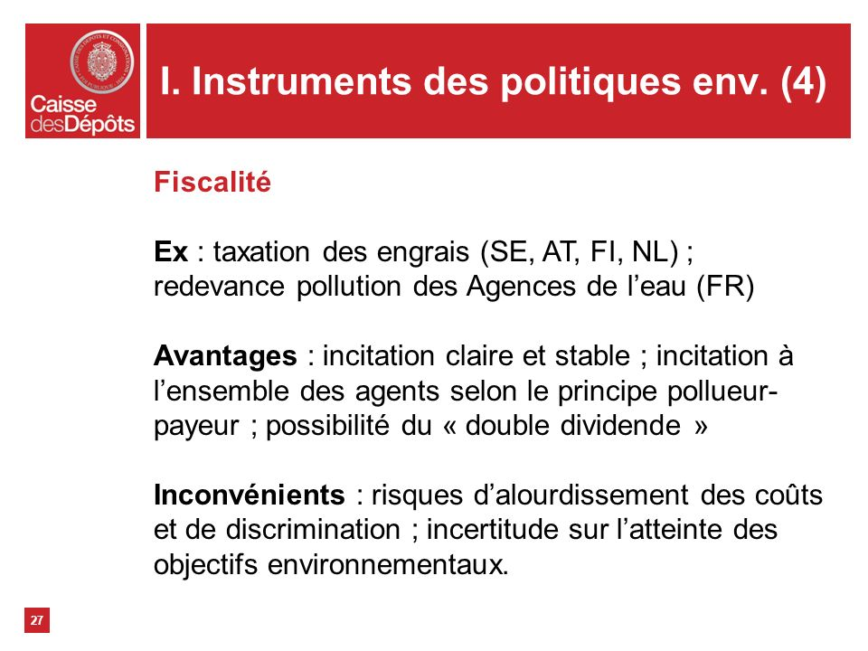 I. Instruments des politiques env. (4)