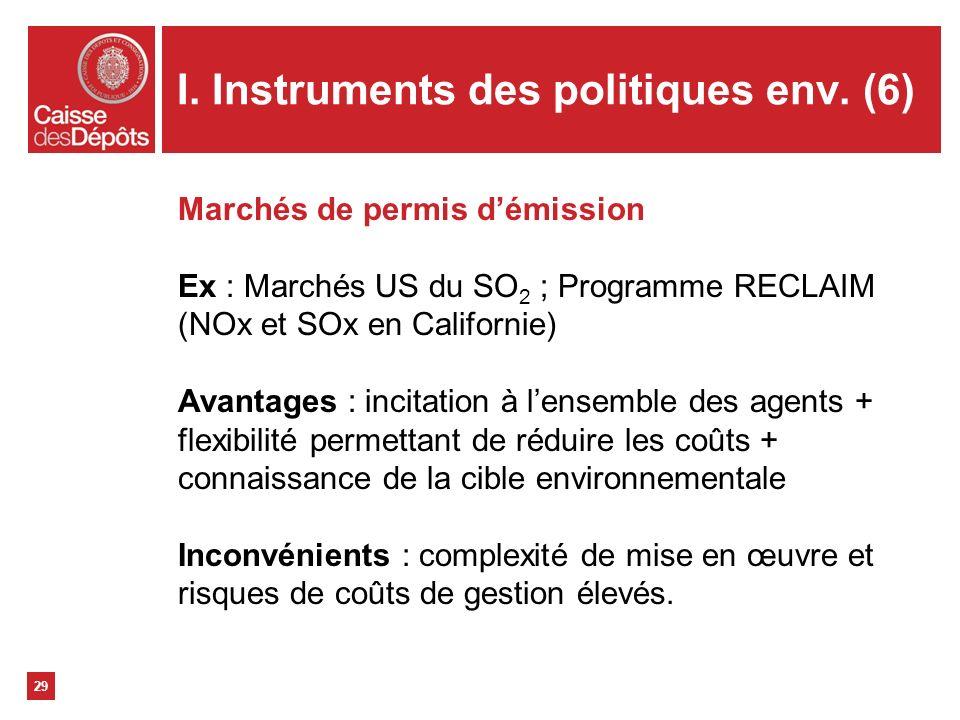 I. Instruments des politiques env. (6)