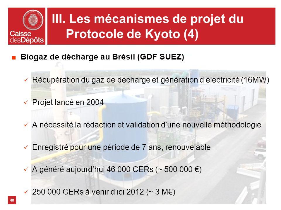 III. Les mécanismes de projet du Protocole de Kyoto (4)