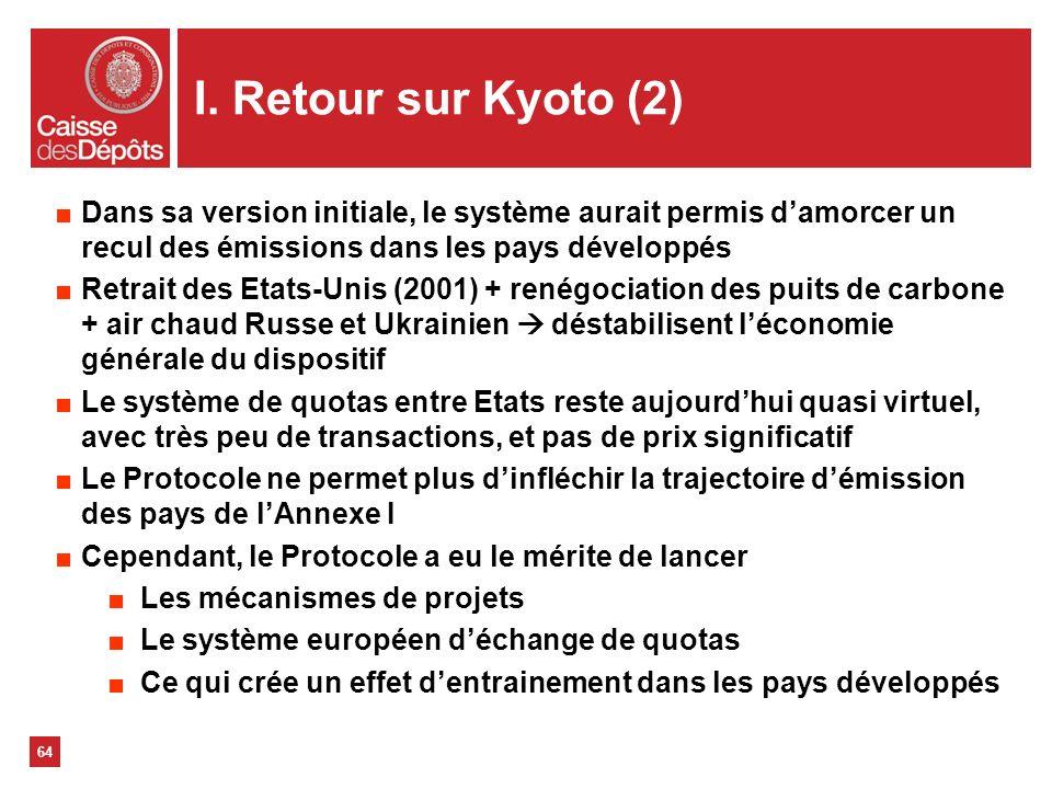 I. Retour sur Kyoto (2) Dans sa version initiale, le système aurait permis d'amorcer un recul des émissions dans les pays développés.