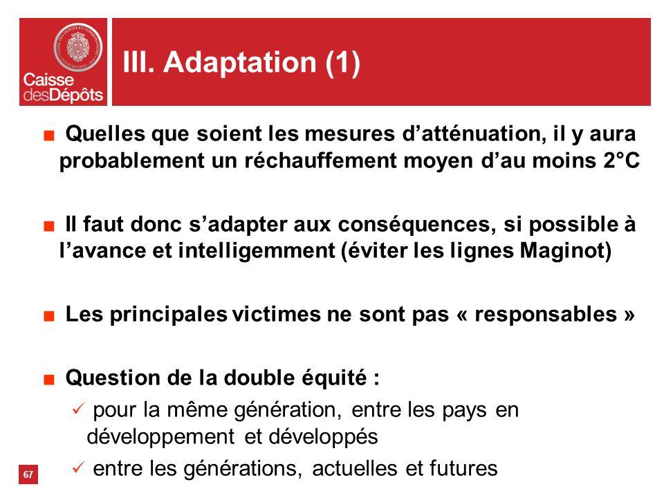 III. Adaptation (1)Quelles que soient les mesures d'atténuation, il y aura probablement un réchauffement moyen d'au moins 2°C.