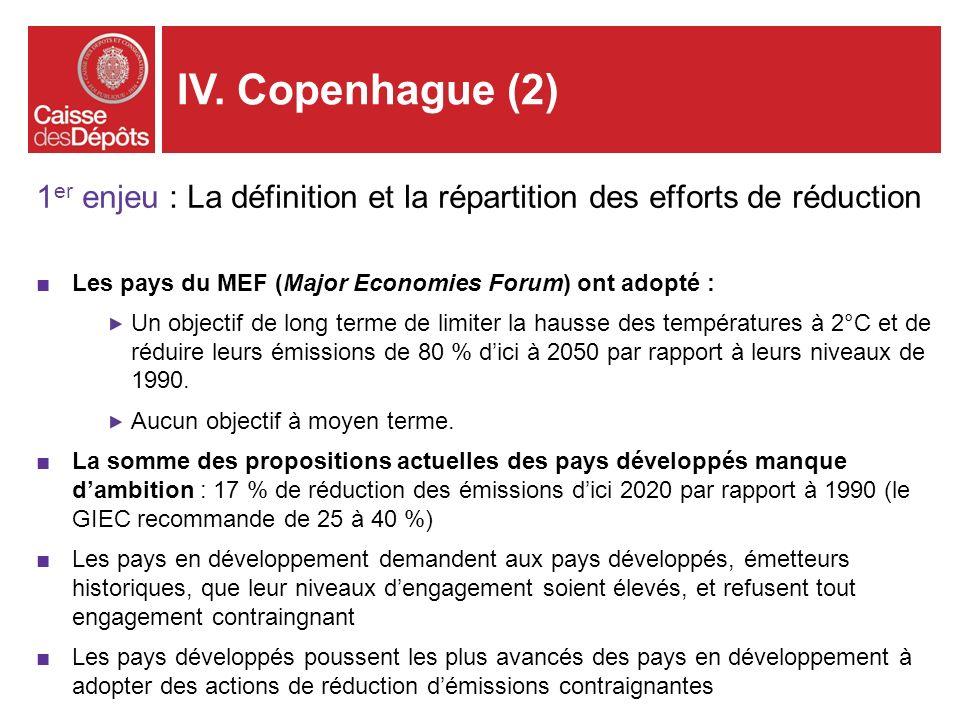 IV. Copenhague (2)1er enjeu : La définition et la répartition des efforts de réduction. Les pays du MEF (Major Economies Forum) ont adopté :