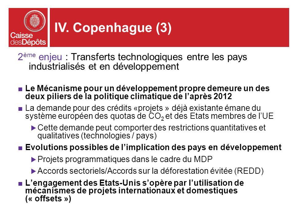 IV. Copenhague (3)2ème enjeu : Transferts technologiques entre les pays industrialisés et en développement.