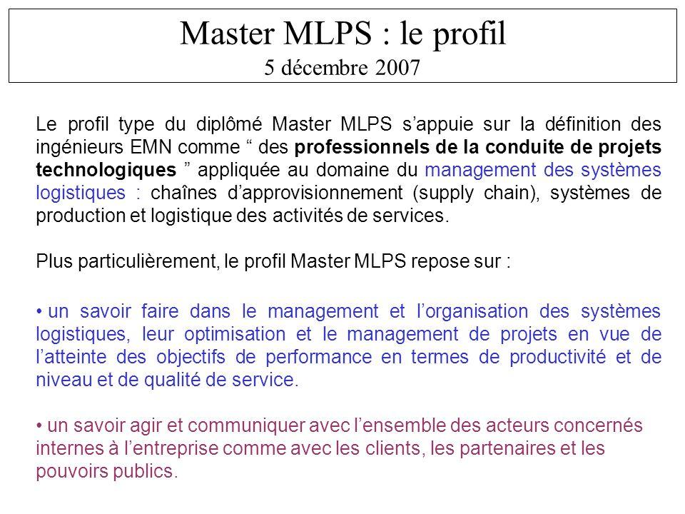 Master MLPS : le profil 5 décembre 2007