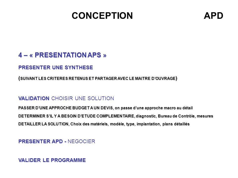 CONCEPTION APD 4 – « PRESENTATION APS » PRESENTER UNE SYNTHESE