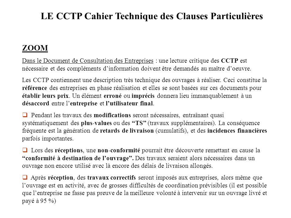 LE CCTP Cahier Technique des Clauses Particulières
