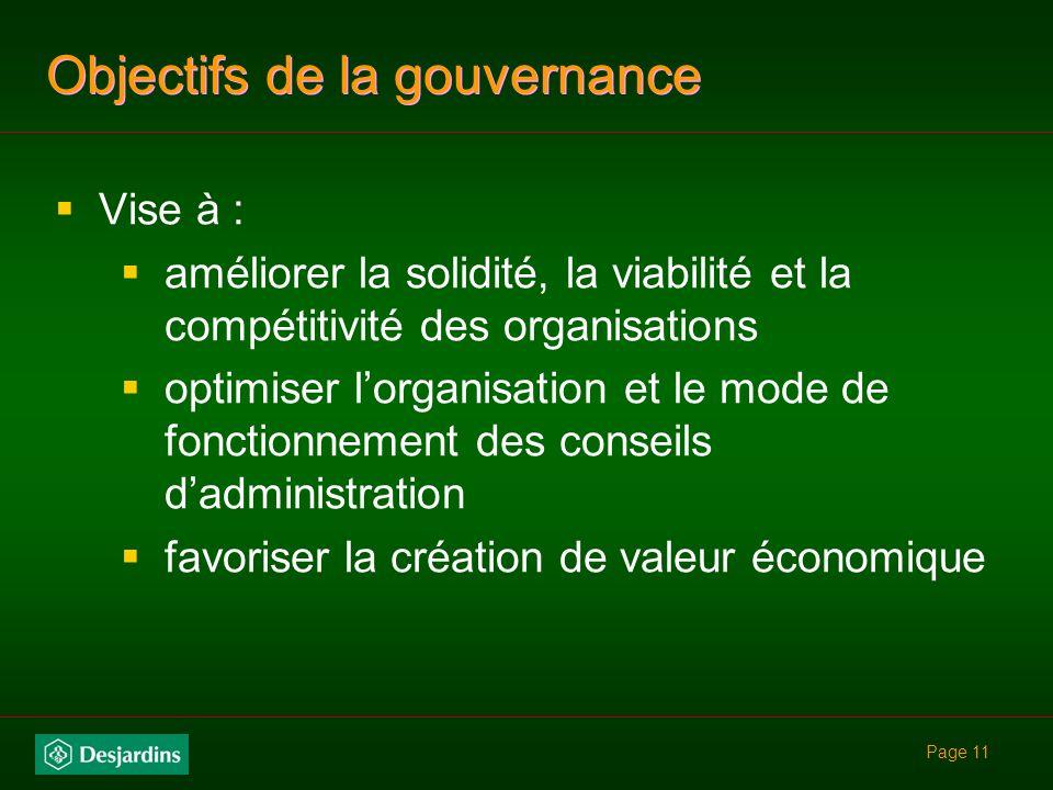 Objectifs de la gouvernance