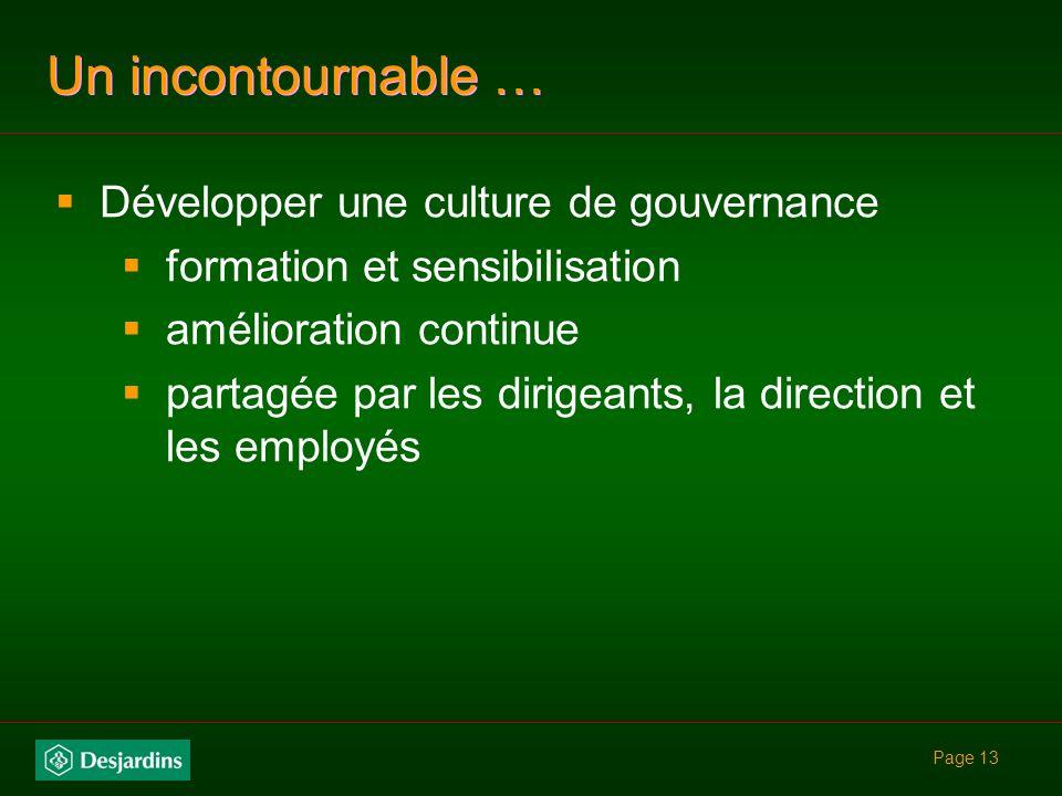 Un incontournable … Développer une culture de gouvernance