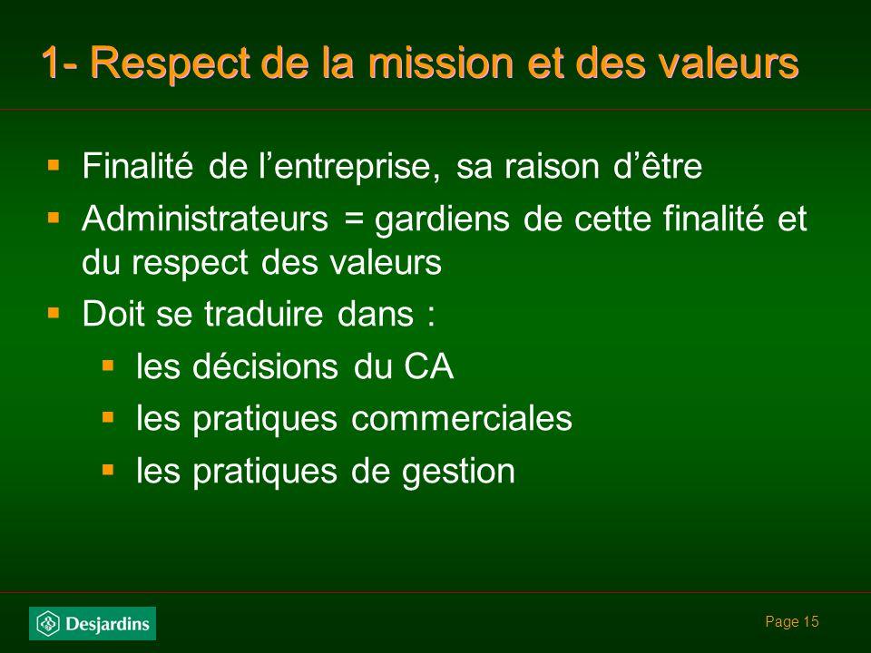 1- Respect de la mission et des valeurs