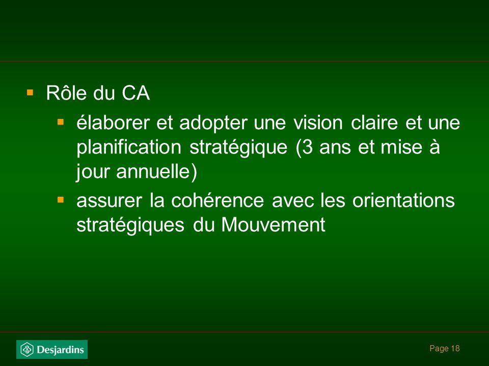 assurer la cohérence avec les orientations stratégiques du Mouvement