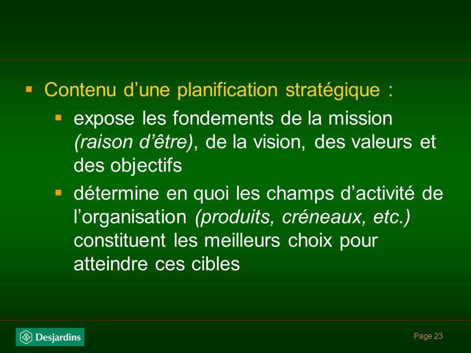 Contenu d'une planification stratégique :