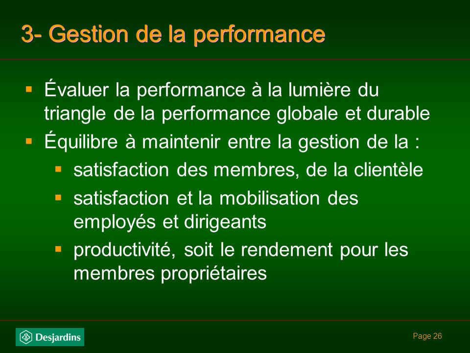 3- Gestion de la performance