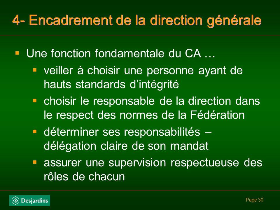 4- Encadrement de la direction générale