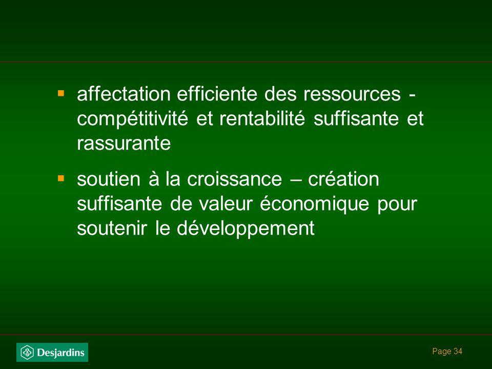 affectation efficiente des ressources - compétitivité et rentabilité suffisante et rassurante