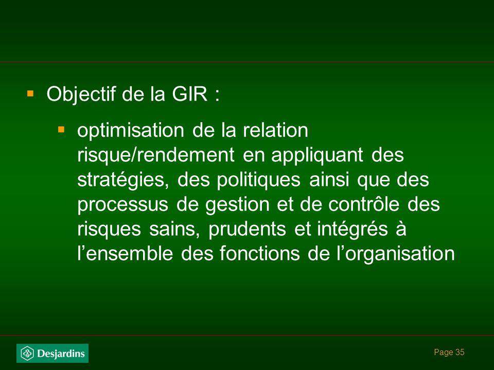 Objectif de la GIR :