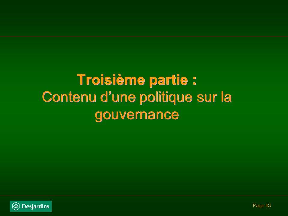Troisième partie : Contenu d'une politique sur la gouvernance