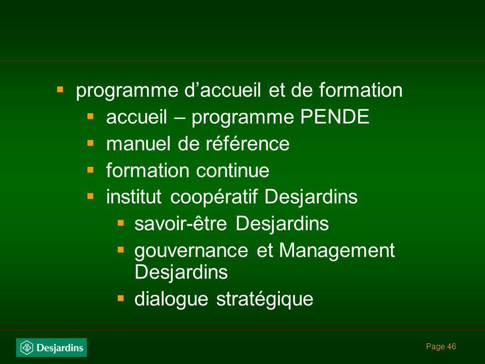 programme d'accueil et de formation accueil – programme PENDE