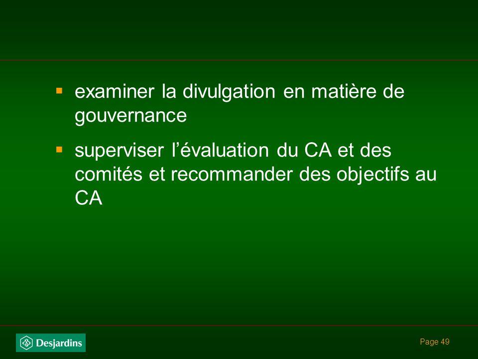 examiner la divulgation en matière de gouvernance