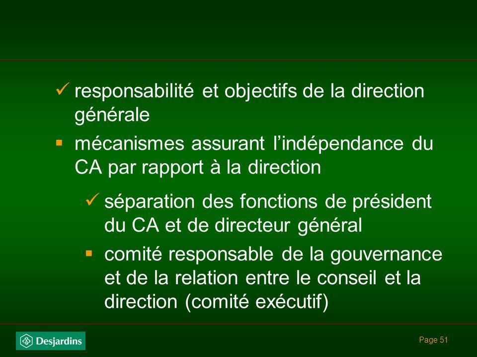responsabilité et objectifs de la direction générale