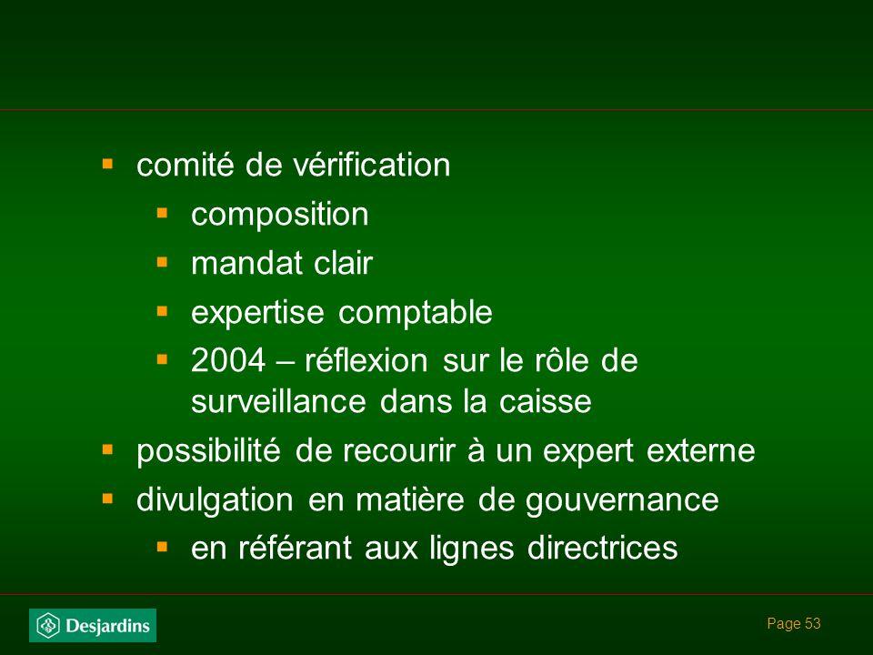 comité de vérification composition mandat clair expertise comptable