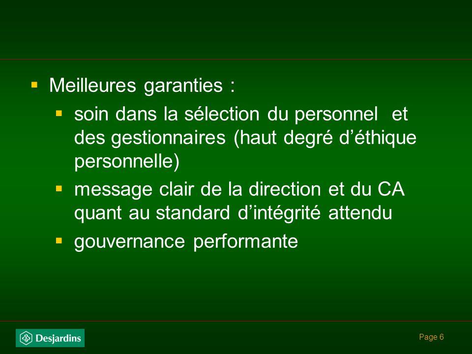Meilleures garanties :