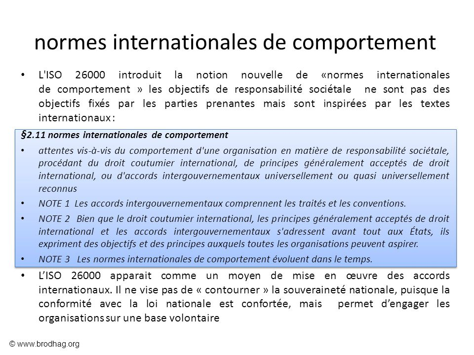 normes internationales de comportement