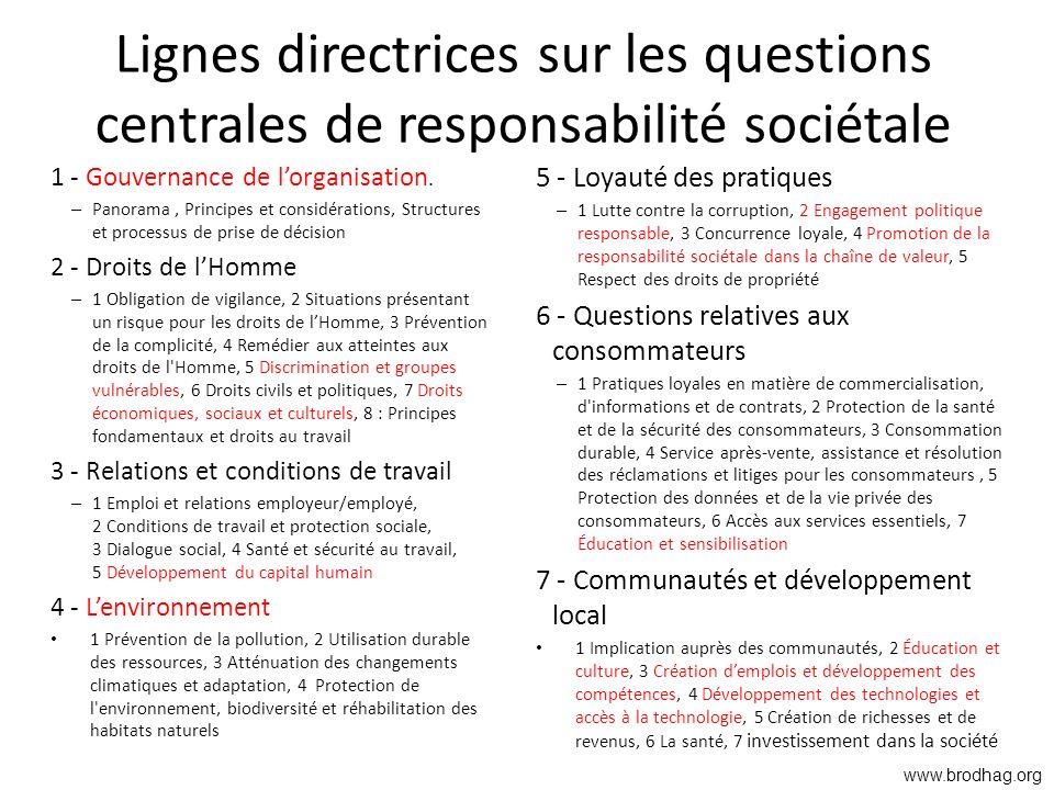 Lignes directrices sur les questions centrales de responsabilité sociétale