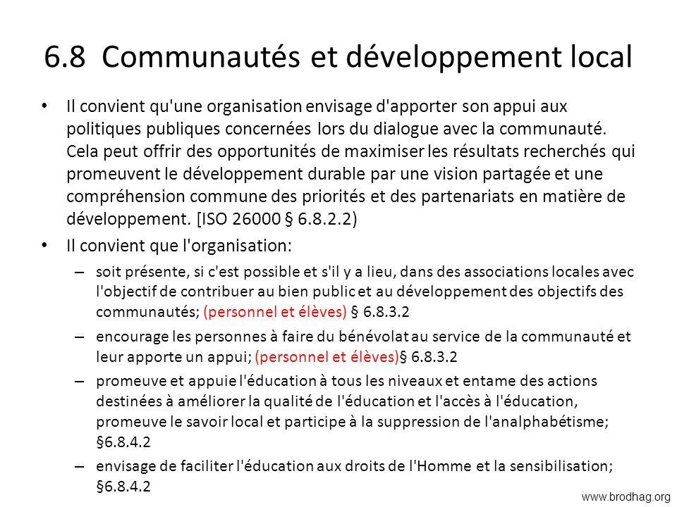 6.8 Communautés et développement local