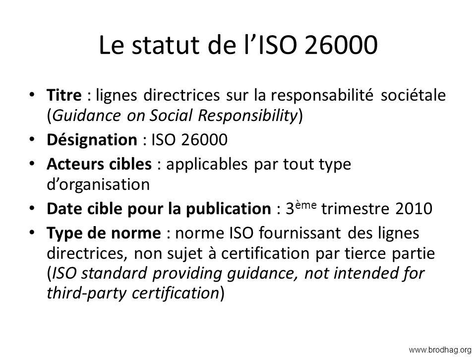 Le statut de l'ISO 26000 Titre : lignes directrices sur la responsabilité sociétale (Guidance on Social Responsibility)