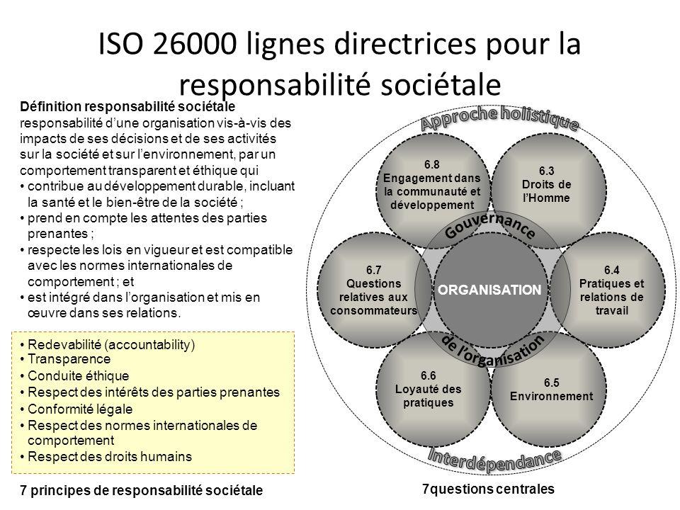 ISO 26000 lignes directrices pour la responsabilité sociétale