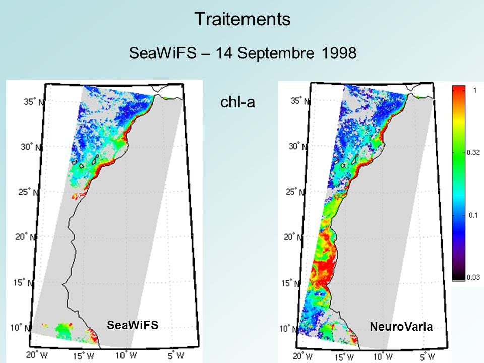 Traitements SeaWiFS – 14 Septembre 1998 chl-a SeaWiFS NeuroVaria